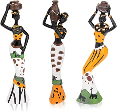 CYYKDA 3PACK Vintage African Statue. Hand Sculpture African American Figurines. Exotic Tribal Lady African Art Piece for Home
