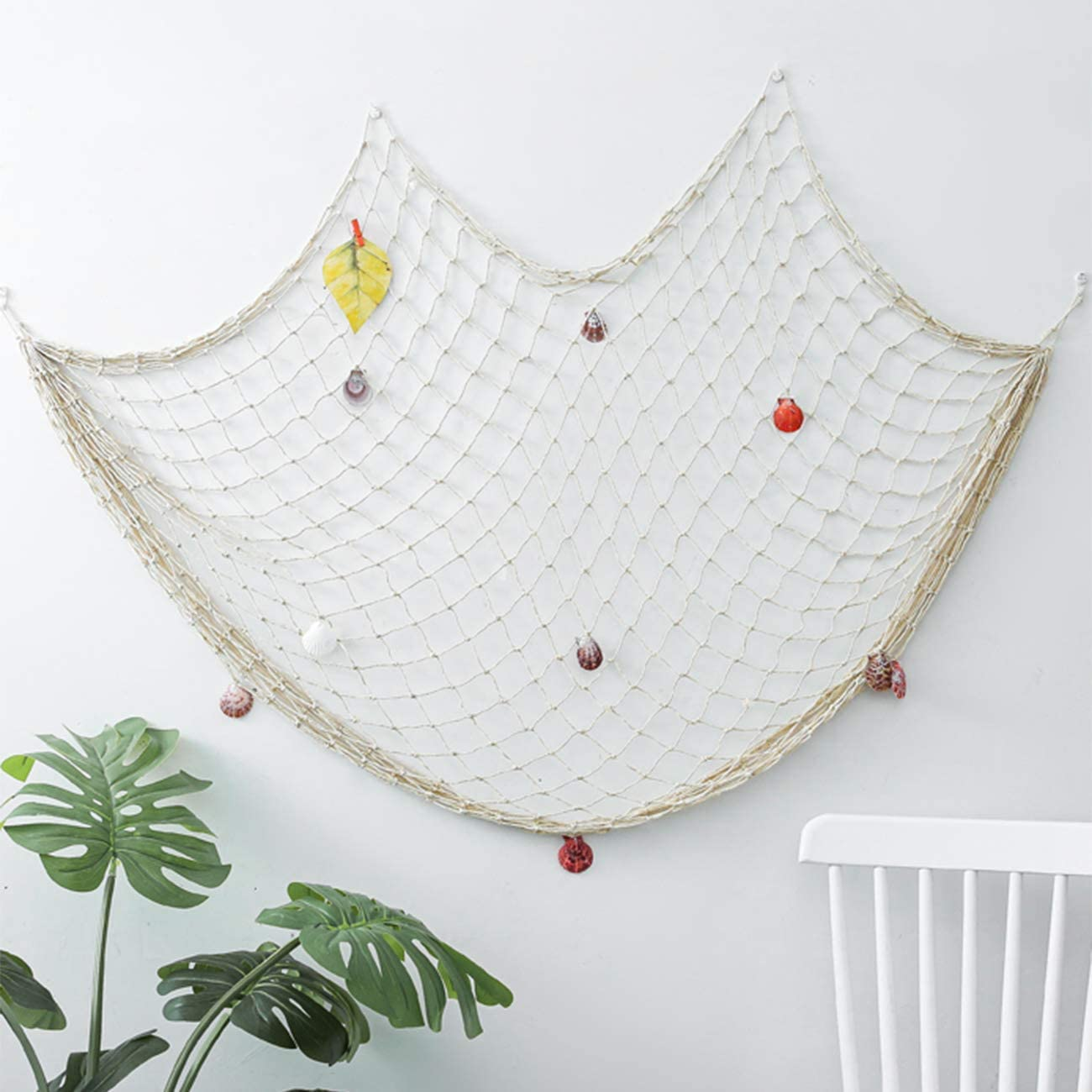 band Decorative Fishing Net Wall Decor with Seashells Nautical Style Wall Hangings Ornaments Mediterranean Style Photographing Accessory Ocean Themed Wall Hangings (White)