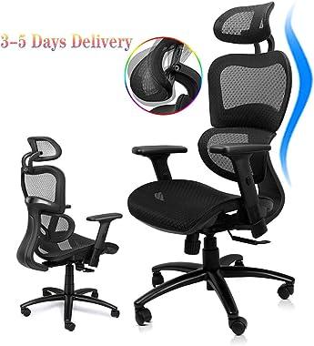 Komene Ergonomic Mesh Office Chair, High Back Desk Chairs with Adjustable Headrest Backrest, 3D Flip-up Arms, Swivel Executive Chairs Lumbar Support, Tilt Function,Non-Slip PU Wheels Black
