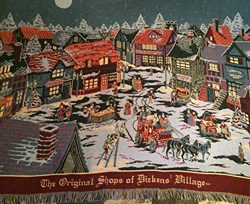 Dickens' Village Department 56 Christmas Throw or Tapestry - The Original Shops of Dickens' Village