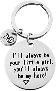 HENGSONG 1Pc I'll Always Be Your Little Girl Stamped Key Chain.You Will Always Be My Hero Keychain