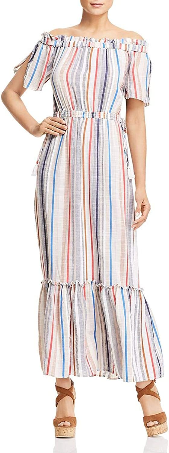 1.STATE Womens OffTheShoulder Striped Maxi Dress