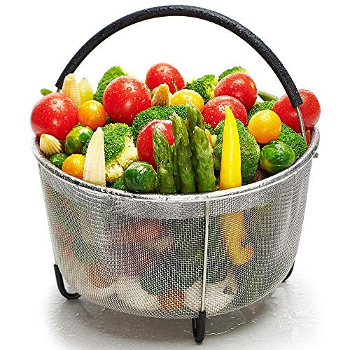 Steamer Basket for Instant Pot 5 qt, Stainless Steel mesh Strainer Steamer Insert with Silicone Handle and feet, Must Have Kitchen Accessories for Steaming Vegetables, Fruit and Eggs - (5/6 qt)