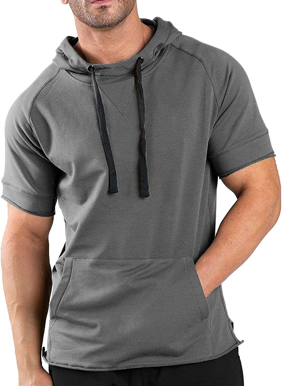 COOFANDY Men's Fashion Athletic Hoodies Pullover Muscle Fit Workout Gym Sweatshirt Cotton Short Sleeve Hooded T-Shirts