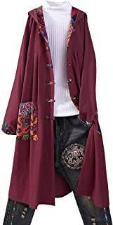 Ladies Long Coat Boho Jackets Casual Cardigan Outwear Ethnic Style Printed Cotton Linen Coat Loose Hooded Jacket