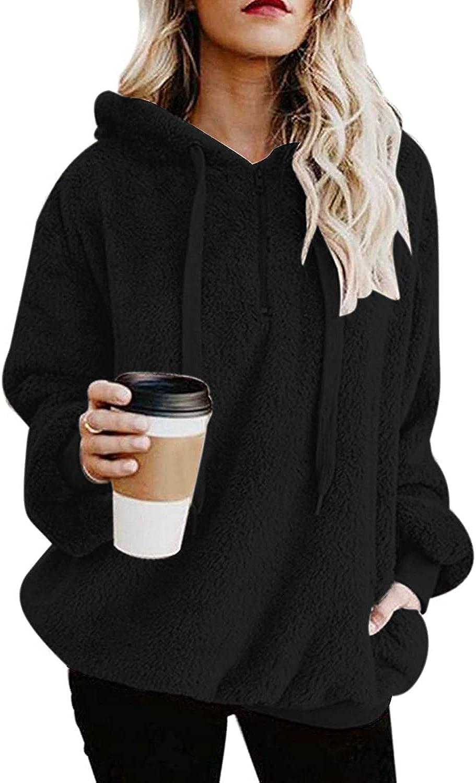 Hoodies Womens Fuzzy Hoodies Pullover Sport Hoodie Cozy Oversized Pockets Hooded Sweatshirt Athletic Fleece