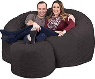 ULTIMATE SACK 6000 Bean Bag Chair w/Footstool: Giant Foam-Filled Furniture - Machine Washable Covers, Double Stitched Seams, Durable Inner Liner, and 100% Virgin Foam Footstool Incl. (Grey, Suede)