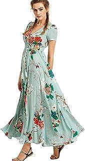Women's Casual Long Loose Print Dress V Neck Short Sleeve Split Maxi Dresses