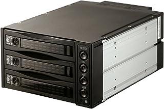 SNT 内蔵 5.25インチ HDDラック -3.5/2.5インチ HDD/SSDケース SATA/SAS HDD内蔵モバイルラックバックプレーンHDDツールフリーインストール、ホットスワップ ブラック