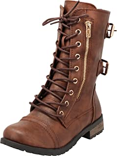 Cambridge Select Women's Closed Round Toe Zipper Buckle Lace-Up Combat Moto Chunky Low Heel Mid-Calf Boot