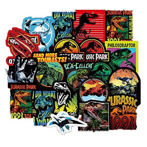 Ligoi 75 Piezas/Paquete Jurassic Park Dinosaurio Pegatinas NiñOs Juguete Graffiti Pegatina para Equipaje PortáTil MonopatíN Motor Coche Pegatina Impermeable