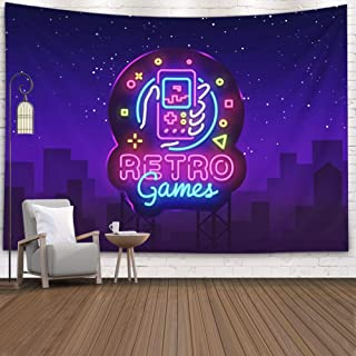Crannel Retro Video Game Tapestry, Retro Games Logo Geek Tapestry 80x60 Inches Wall Art Tapestries Hanging for Dorm Room Living Home Decorative,Purple Black-3