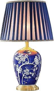 Bases para lámparas-HWenH Cerámica azul lámpara de mesa, patrón de Hotel Club lámpara de mesa flor del ciruelo / plisado lámpara pantalla de la tela decorativa robusta mesa de la lámpara 38 * 38 * 62
