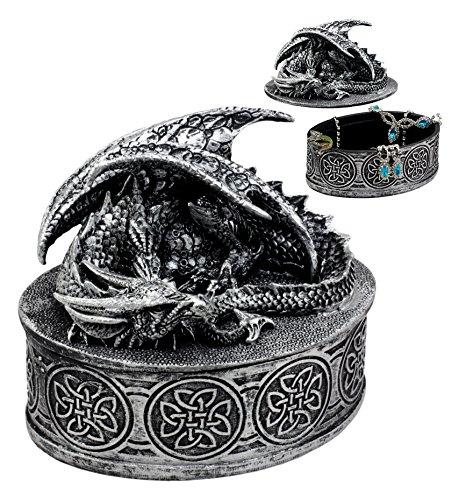 Ebros Gift Oval Celtic Knotwork Mythical Sleeping Dragon Decorative Box Trinket Jewelry Box Figurine 4.75'H