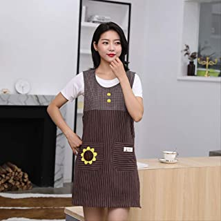 mhde Delantales Vestido de algodón Acolchado de Moda Cocina hogar cafetería Chaleco antidesgaste Delantal de Manga Largac...
