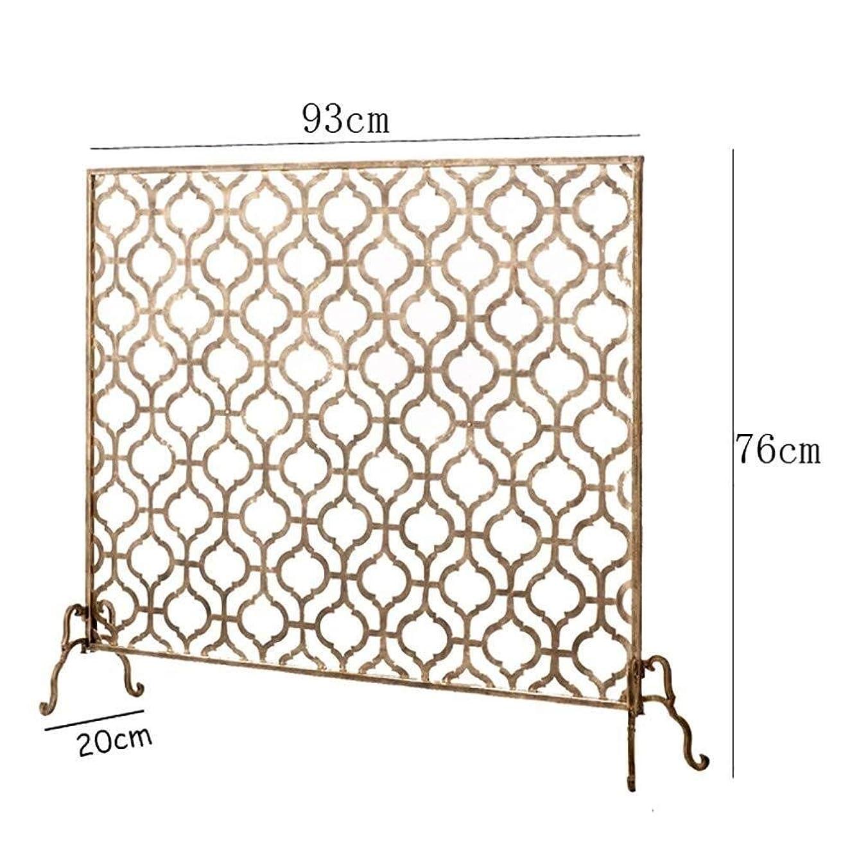 朝ごはん労働涙が出るJ-暖炉スクリーン シングルパネル華やかな暖炉スクリーン、錬鉄金属装飾メッシュ、立ちゲートスパークガードカバー、ゴールドブロンズ、30「(H)×37」(W) スパークガードカバー