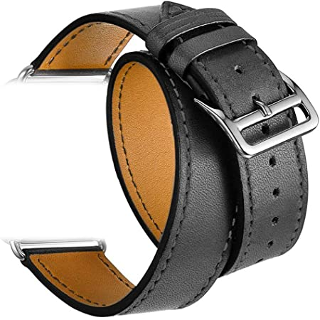 Valkit Compatible with Apple Watch Band 38mm 40mm 42mm 44mm, Double Tour Replacement Leather Strap Women Men Wristband for Apple Watch Series SE/6/5/4/3/2/1,Black