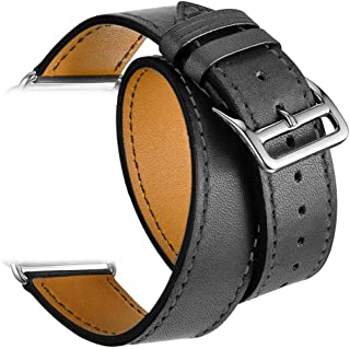 Valkit Compatible Apple Watch Bands 42mm 44mm Genuine Leather Strap Smart Watch Band Replacement Bracelet with Stainless Steel Adapter Replacement for Apple iWatch Series 4 3 2 1, Black
