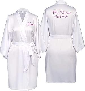 SIORO Custom Embroidered Satin Robe for Bride Bridesmaid,Womens Wedding Party Silk Bathrobe