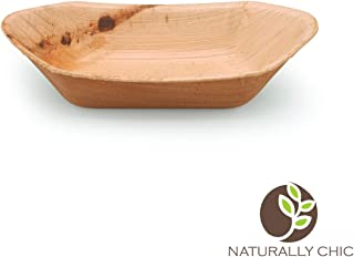 "Naturally Chic Palm Leaf Compostable Trays | 8"" Biodegradable Disposable Eco Friendly Serving Trays for Weddings, Parties, BBQs, Events (25 Pack)"