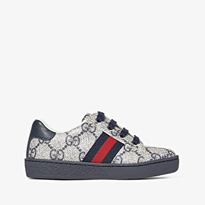 Gucci Kids GG Supreme Low-Top Sneaker (Toddler) (Beige/Blue) Kids Shoes