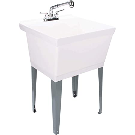 White Utility Sink Laundry Tub With Pull Out Chrome Faucet Sprayer Spout Heavy Duty Slop Sinks