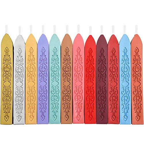 Mudder 12 Pieces Antique Sealing Wax Sticks with Wick for Retro Vintage Wax Seal Stamp (Assorted Colors)