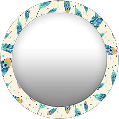999Store Printed Blue Peacock Feathers Round Mirror (MDF_17X17 Inch_Multi)