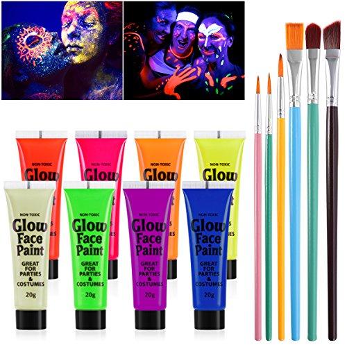 NUOLUX Blacklight Pintura Para Rostro y Cuerpo 8 Colores FluoresceRnt Pigment y 6pcs Paint Brushes