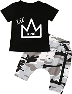2PCS Toddler Baby Boys King Crown Pattern Short Sleeve T-Shirt Tops+Camouflage Short Pants Summer Outfit
