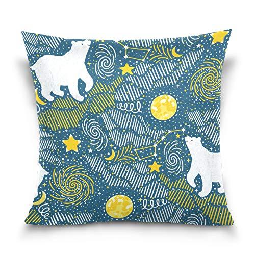 hengpai Bear Constellation Square Pillow Cases Decorative Pillow Cover Cotton Velvet for Couch Safa