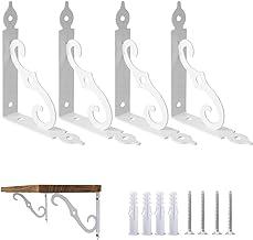 Ouvin Decoratieve Wandbeugels 4 Pack Retro Zwart Wit Heavy Duty L Hoekbrace Plank Ondersteuning Drijvende Metalen Beugels ...
