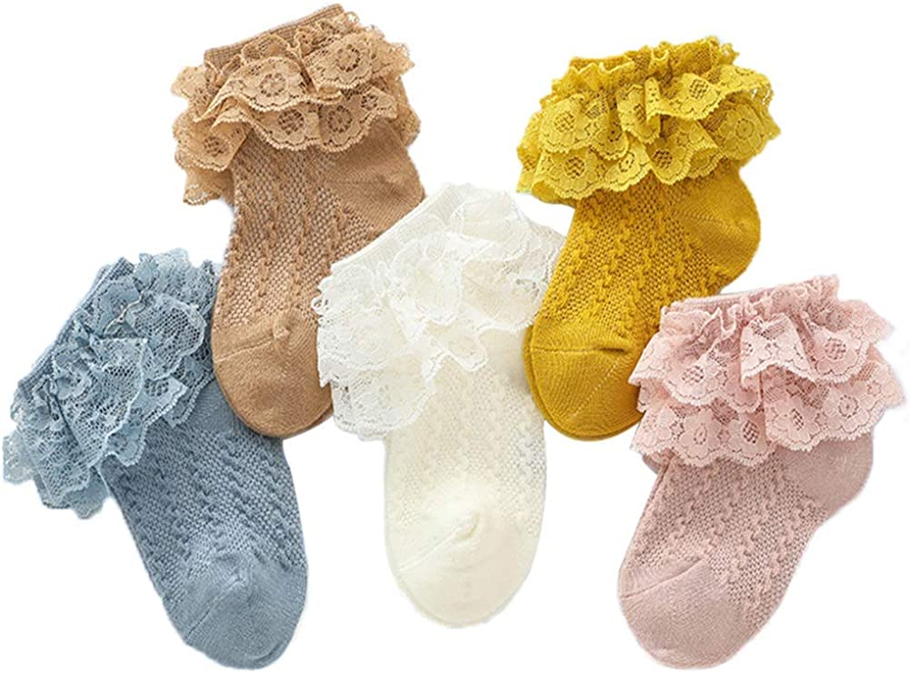 Adeimoo Princess Newborn Baby Girls Socks Lace Ruffle Frilly Ankle Dress Sock for Infants Toddler