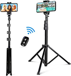 """AMERTEER Selfie Stick Tripod, 51"""" Extendable Selfie Stick Stand with Wireless Remote Control, Cellphone Tripod, Compatible..."""
