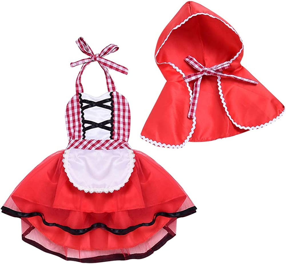 Hoodie Cape 2pcs Outfit Set Toddler Baby Girls Little Red Riding Hood Costume Halloween Christmas Party Sunsuit Dress