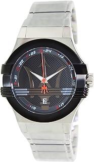 ساعة بوتنزا بمينا سوداء وسوار من الستانلس ستيل للرجال من مازيراتي - موديل R8853108001