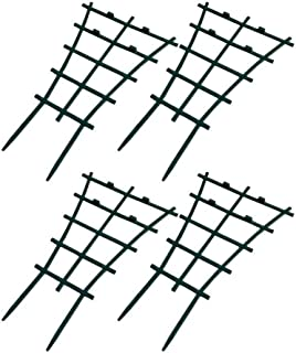 Exttlliy Plastic Mini Superimposed Garden Plant Support DIY Climbing Trellis Flower Supports Dark Green (4Pcs)