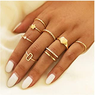 Yokawe Vintage Knuckle Ring Set Gold Crystal Joint Finger Rings Heart Stacking Midi Rings for Women and Girls(8 PCS)