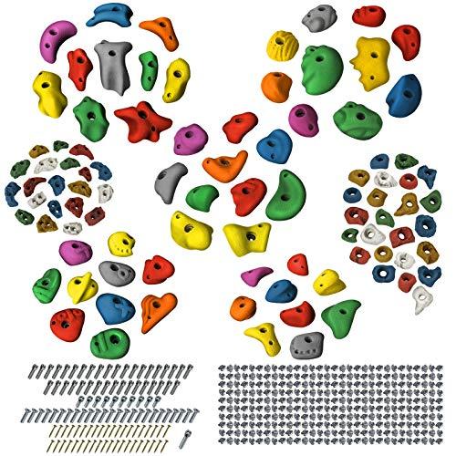 ALPIDEX Starterset: 94 Klettergriffe Klettersteine bunt gemischt inkl. Schrauben und Einschlagmuttern