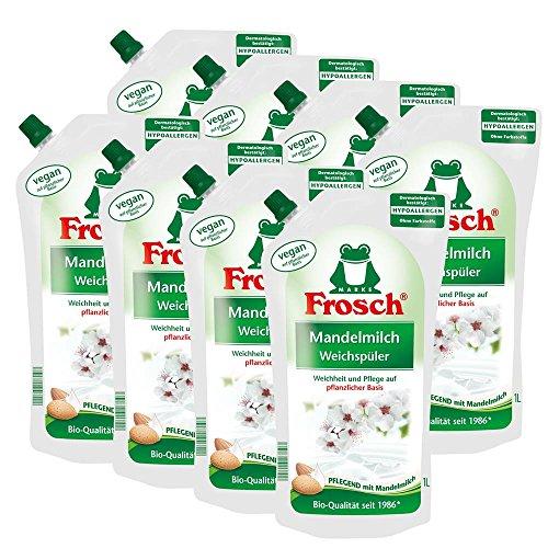 8x Frosch Mandelmilch Weichspüler 1 Liter - Pflegend mit Mandelmilch