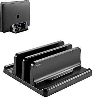 ASHER FASHION Dual-Slot Vertical Laptop Stand Holder with Adjustable Dock Size ,Space-Saving MacBook Stand and Fits All Ma...