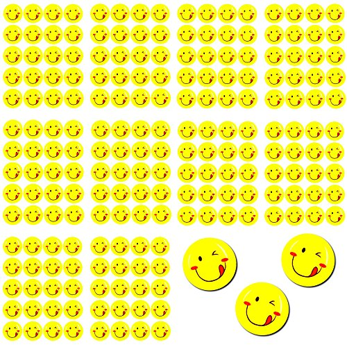 Oblique Unique® 200 x Smiley Face Sticker I Rausgestreckte Zunge I 200 x Ø 20cm I Dekoration I Kinder Geburtstag