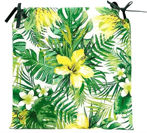 TIENDA EURASIA® Pack de 4 Cojines para Sillas - Estampado Flores Tropical - 2 Cintas de Sujeción - Ideal para Interiores y Exteriores - 40 x 40 x 3 cm (Verde)