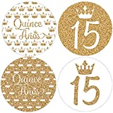Quinceanera Party Favor Stickers - 1.75 in - 40 Labels (White and Gold)