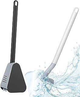 Brosse WC de golf, brosse de toilette à long manche [avec base], brosse de toilette en silicone, sans extrémités mortes, b...