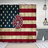 goodsaleA Duschvorhang,Feuerwehr Logo Feuerwehrmann,Waschbar Shower Curtains Wasserdicht & mit 12 Ringe Bad Vorhang 150x180cm