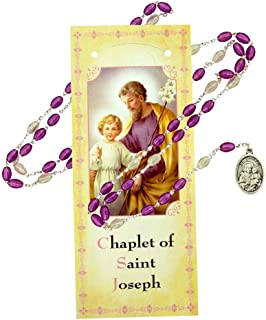 Assorted Saint Chaplets | 12 Different Subjects and Colors | Comes with Bio Pamphlet | Christian Jewlery (Saint Joseph)