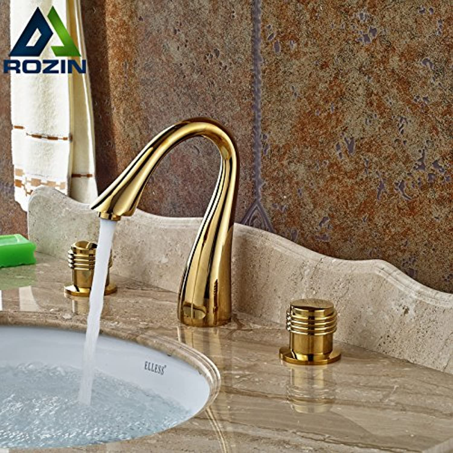 Maifeini Faucet, Faucet, Faucet, Faucet, Faucet, Faucet New Part Brass gold Basin Mixer Deck Install Dual Handles Bathroom Hot And Cold Mixer Taps