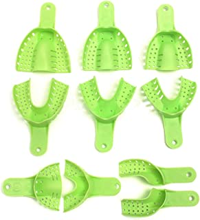 Dental Impression Trays Plastic Molding Trays Dental Central Supply Teeth Holder 10 pcs/Set Light Green