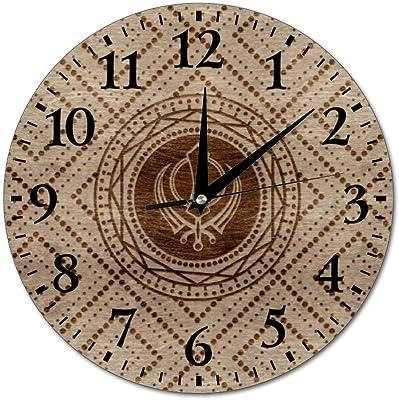 木製の質感のカンダ記号壁掛け時計、フラット時計、PVC時計、自宅の寝室のリビングルームオフィスに適しています